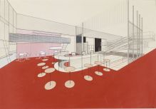 Herbert Bayer Walter Gropius Apartment House Communal Rooms for Werkbund Exhibition, Paris, 1930- Interior perspective, bar Gouache, black ink, graphite, and wash on off-white wove paper, spatter-painted 42 x 57.1 cm