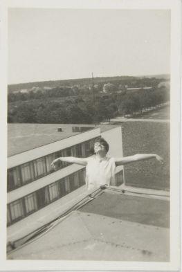 Leo Baron (1897 - 1945) Gertrud Herold on Bauhaus Roof, Dessau, 1929 Photograph German, 20th century Gelatin silver print image- 5.8 x 3.6 cm (2 5:16 x 1 7:16 in.)