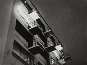 Lyonel Feininger, night-time photo of Walter Gropius' Bauhaus Dessau building (3.26.1929)
