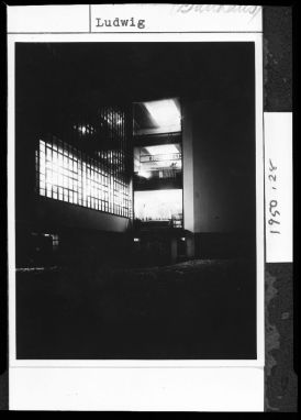 Unidentified Artist Bauhaus Building at Night, Dessau, 1928-1929 Photograph German, 20th century Gelatin silver print image- 10.8 x 8.2 cm (4 1:4 x 3 1:4 in.)