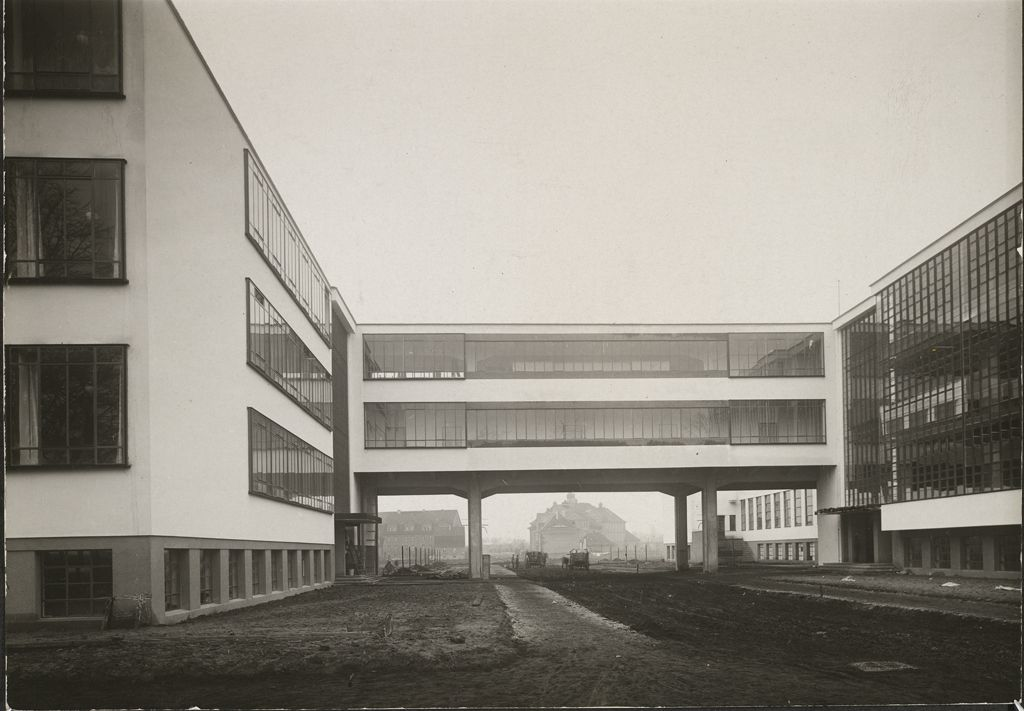 Unidentified photographer Bauhaus Building, Dessau, 1925-1926- Bridge before completion, view from west [architect- Walter Gropius], c. 1926 Gelatin silver print image- 11.4 x 16.3 cm