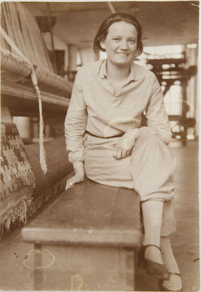 Unknown Artist Gertrud Herold in Bauhaus Weaving Workshop, Dessau, 1929 Photograph German, 20th century Gelatin silver print 7.9 x 5.5 cm (3 1:8 x 2 3:16 in.)