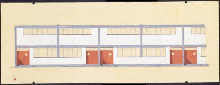 Walter Gropius (American, b. Germany, 1883-1969). Building type A, elevation, 1926-28. Törten housing estate, Dessau, 1926-28. Gouache and ink on paper. 8 7:16 x 24 in. (21.5 x 60.9 cm). Gift of Walter Gropius.