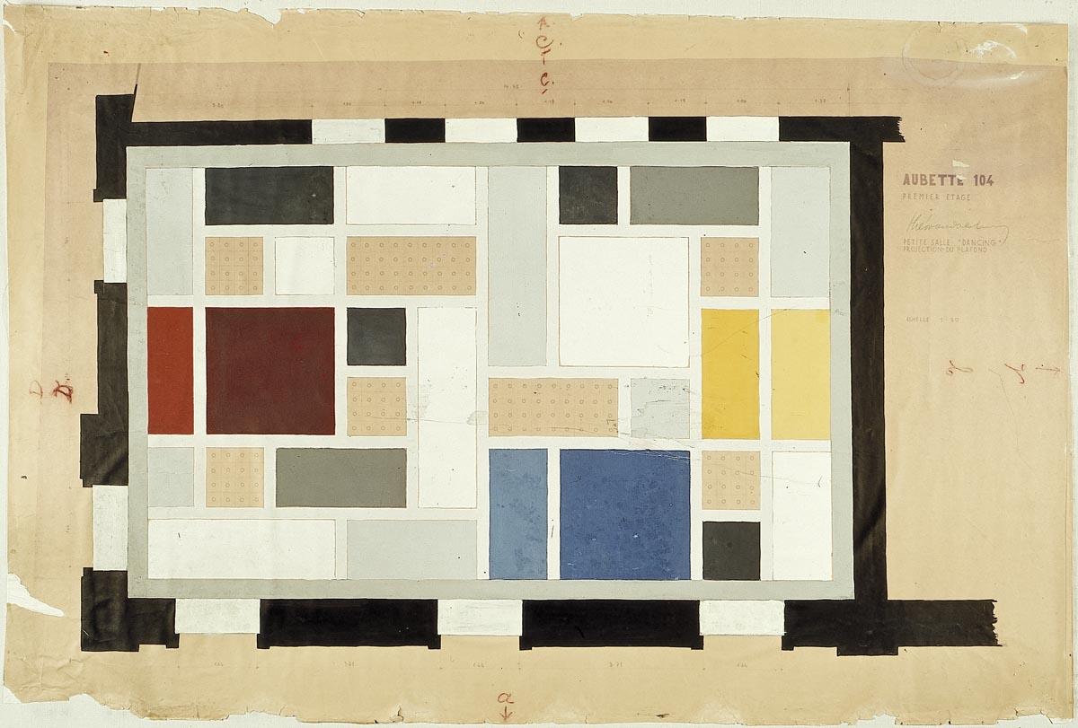 Definitief kleurontwerp voor het plafond, Grote Feestzaal, Aubette