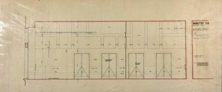 Werktekening voor wand, kant Kleine Feestzaal, Aubette