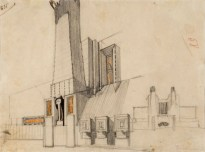 Antonio Sant'Elia, Edificio monumentale con pannelli decorativi fianco e schizzo del fronte di