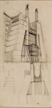 Casa a gradinata con ascensori esterni e galleria interna a sezione trapezoidale veduta prospettica e sezioni