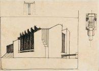 Edificio con sistema di copertura sospeso (teatro?), prospettiva e schizzi del fronte e della pianta
