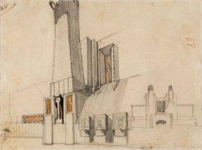 Edificio monumentale con pannelli decorativi, fianco e schizzo del fronte di un edificio con torri