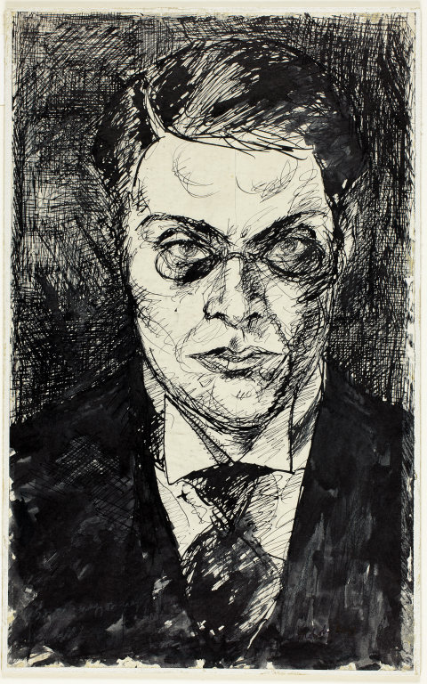 Self-Portrait, c. 1910 or 1920 Pen and brush and black ink, on ivory wove paper, laid down on white laminate board 339 x 209 mm
