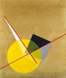 Yellow Circle László Moholy-Nagy. (American, born Hungary. 1895-1946). Yellow Circle. 1921. Oil on canvas, 53 1:8 x 45%22