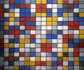Composition with Grids- Checkerboard Composition with Light Colors was created in 1919 on an 86 x 106 cm canvas.[1] Mondrian used oil as his medium for this