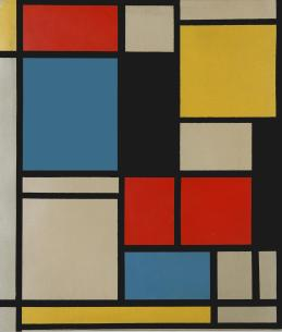 fter Piet Mondrian Composition in blue, red and yellow Lithograph in colours, 1921, on wove, published by Photographische Gesellschaft, the full sheet printed to the edges, 440 x 390 mm (17 1:4 x 15 3:8 in) (I)