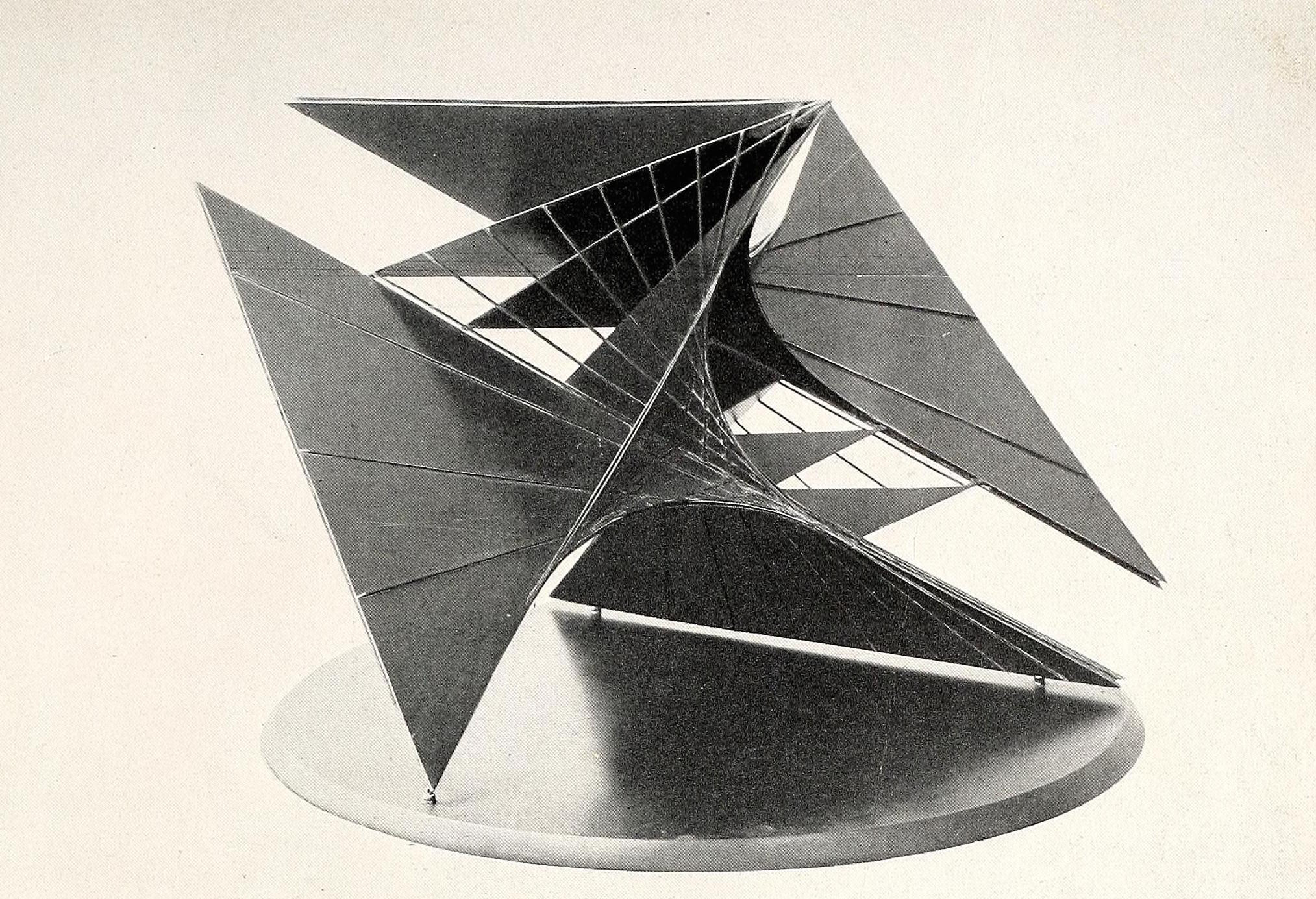 """Antoine Pevsner, construction for an airport (1937), bronze, tin, and oxidized brass 32"""" wide"""