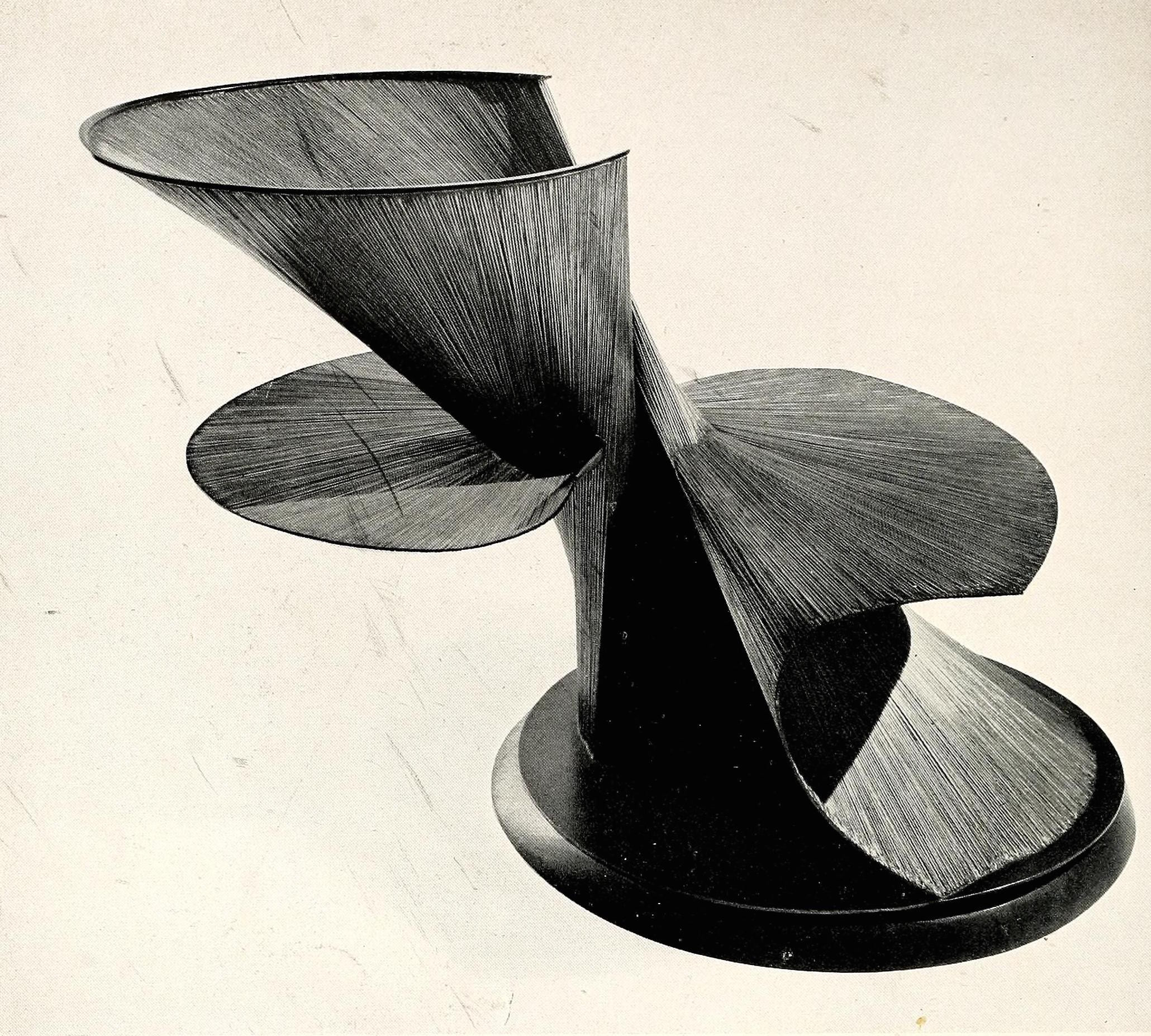 "Antoine Pevsner, developable column (1942), oxidized tin on brass, 20"" high"
