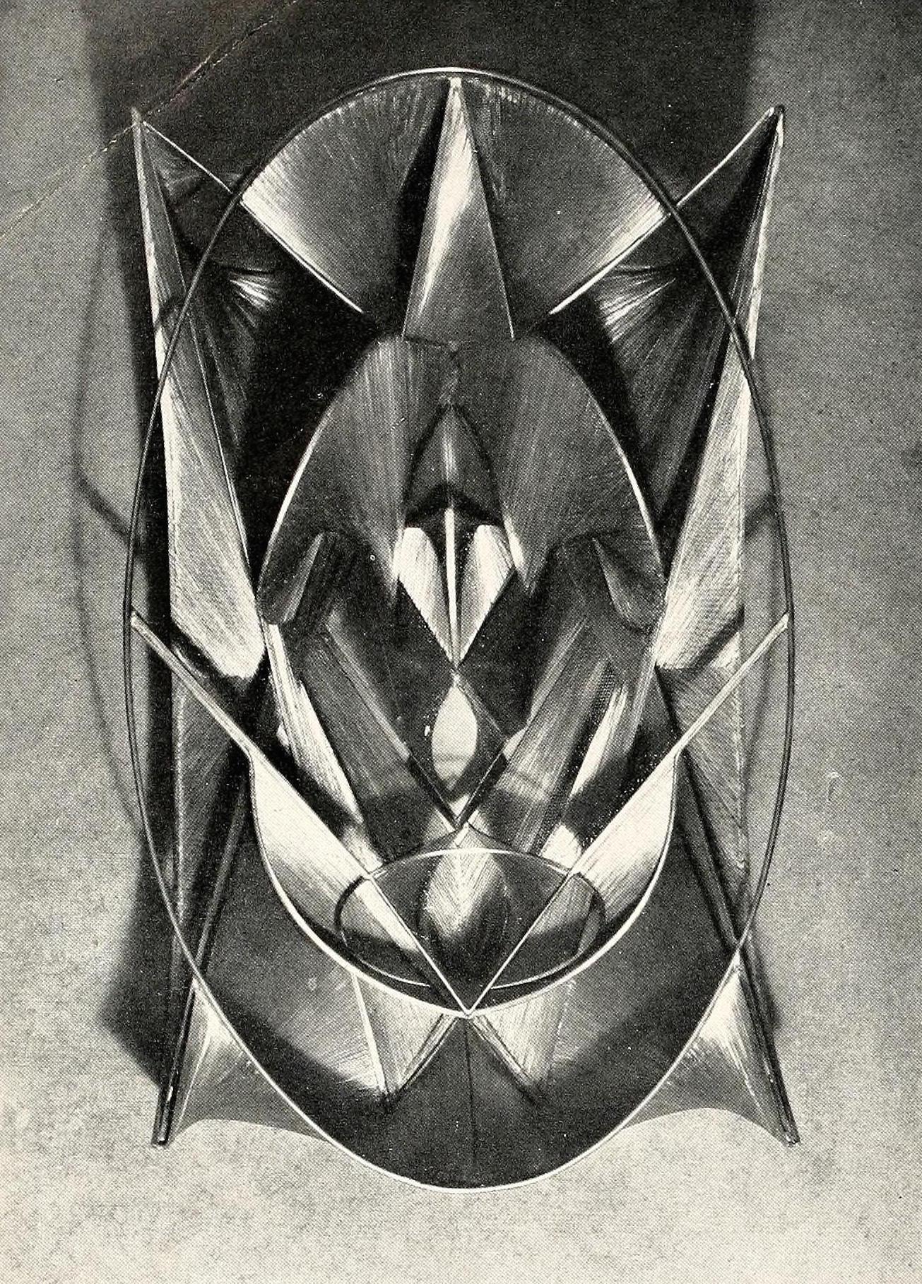 """Antoine Pevsner, oval fresco (1945), bronze and oxidized tin, 31 x 18"""""""