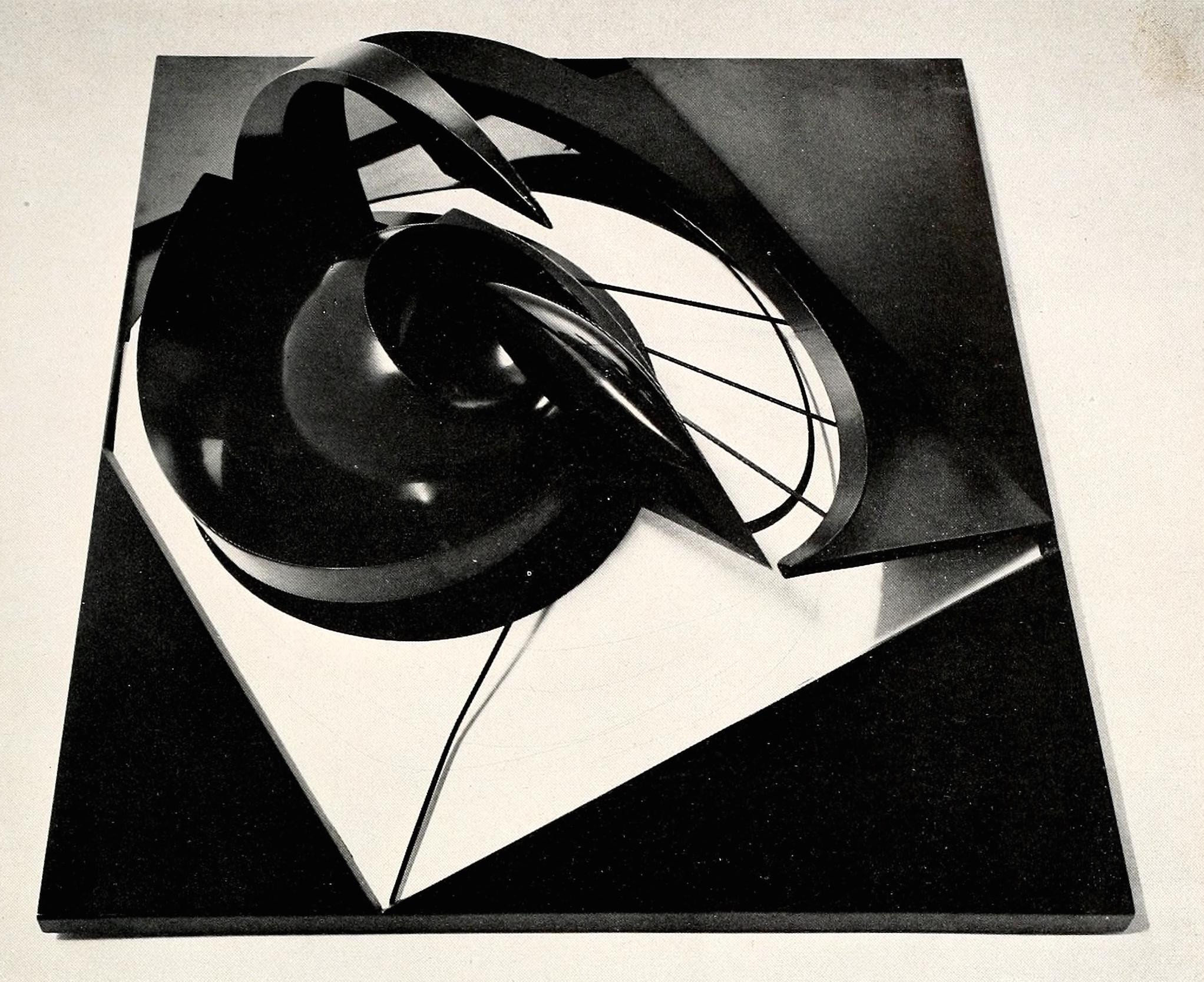 """Antoine Pevsner, projection into space (1938), tin and oxidized brass on plastic, 27 x 31"""""""