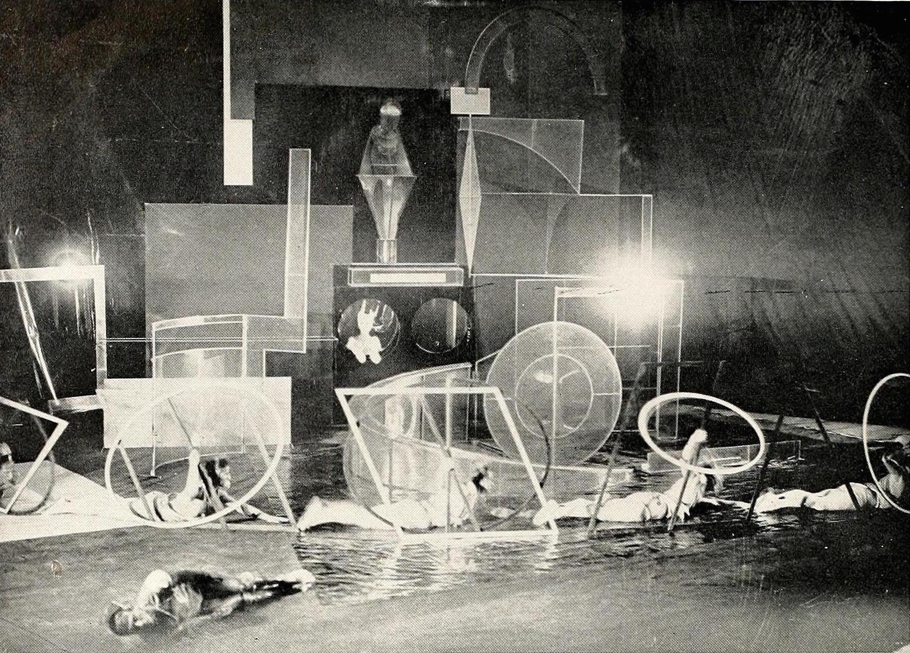 "Antoine Pevsner, setting for ballet ""La Chatte"" (1927), plastic, oil cloth, wood, and steel"
