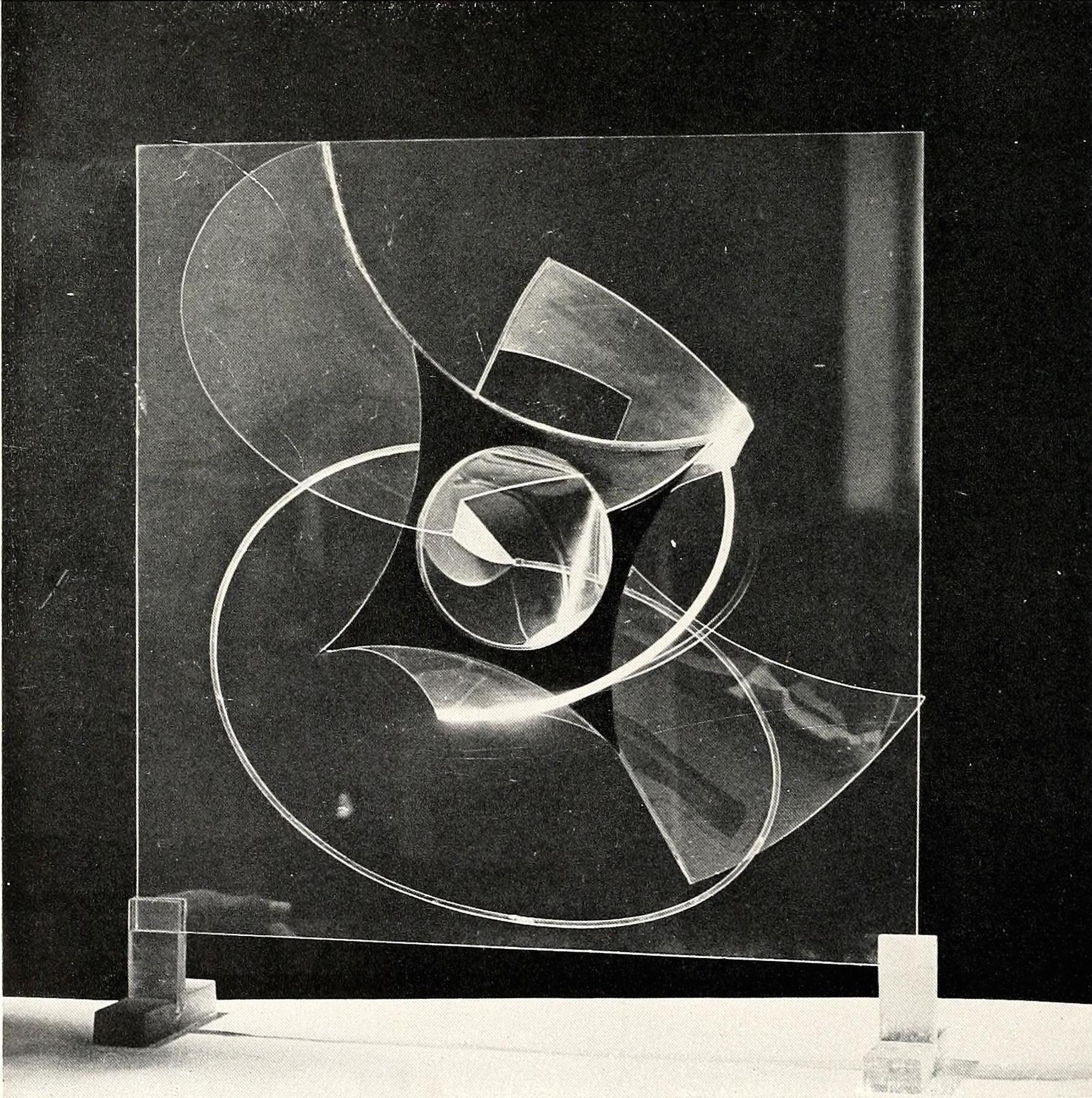 Naum Gabo, construction on a plane (1937) Plastic, 19 inch square
