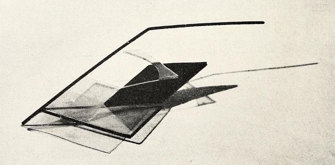 Naum Gabo, monument for an airport (1932), plastic and metal 42,5 inches long