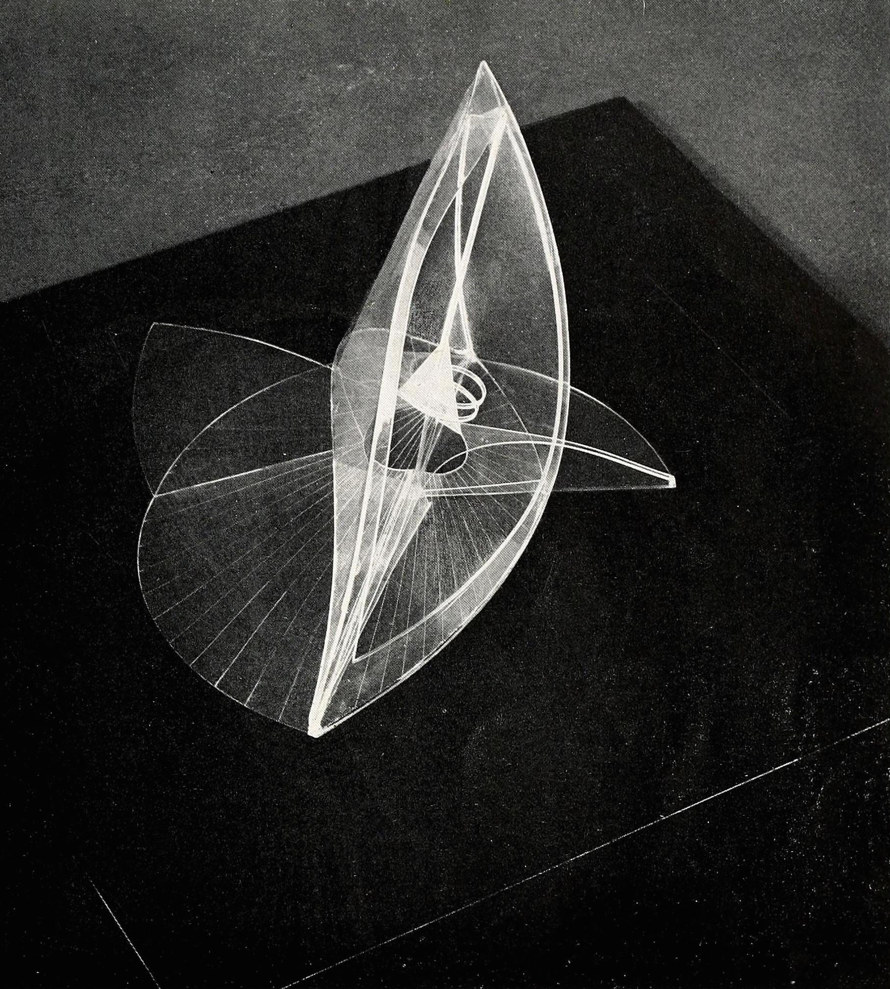 "Naum Gabo, spiral theme (1941), Plastic, 24"" high"