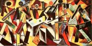 Varvara Stepanova Billiard Players. (1920) Oil on canvas. 68 x 129 cm