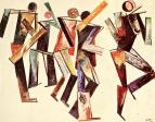 Varvara Stepanova, Five Figures on a White Background, 1920 Oil on canvas, 80 x 98 cm