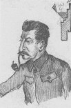 J.V. Stalin sketched by N.I. Bukharin. 20 February 1928