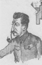 J.V. Stalin sketched by N.I. Bukharin. 20 February 1928