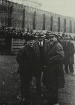 Bukharin, Ian Sten, and Viacheslav Molotov at the Kremlin wall in Red Square, 1925