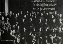 Lenin (second row third from right), Bukharin (second row far right), and Trotsky with delegates to the First Comintern Congress in Moscow, 1919