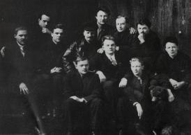 """Members of the famous """"Bukharin school"""" in 1926 - Ivan Kravel, Vasily Slepkov, Dmitry Maretsky, Aleksandr Zaitsev, Bukharin, Ian Sten, Aleksandr Slepkov, Grigory Maretsky, David Rosit, Aleksei Stretsky, Aleksandr Troitsky"""