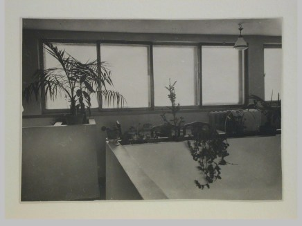 Gruntal, V.G. Interior view of Nikolai Milutin's apartment in the People's Commissariat for Finance (Narkomfin) Apartment Building showing the upper level, 25 Novinskii Boulevard, Moscow, after 1930a