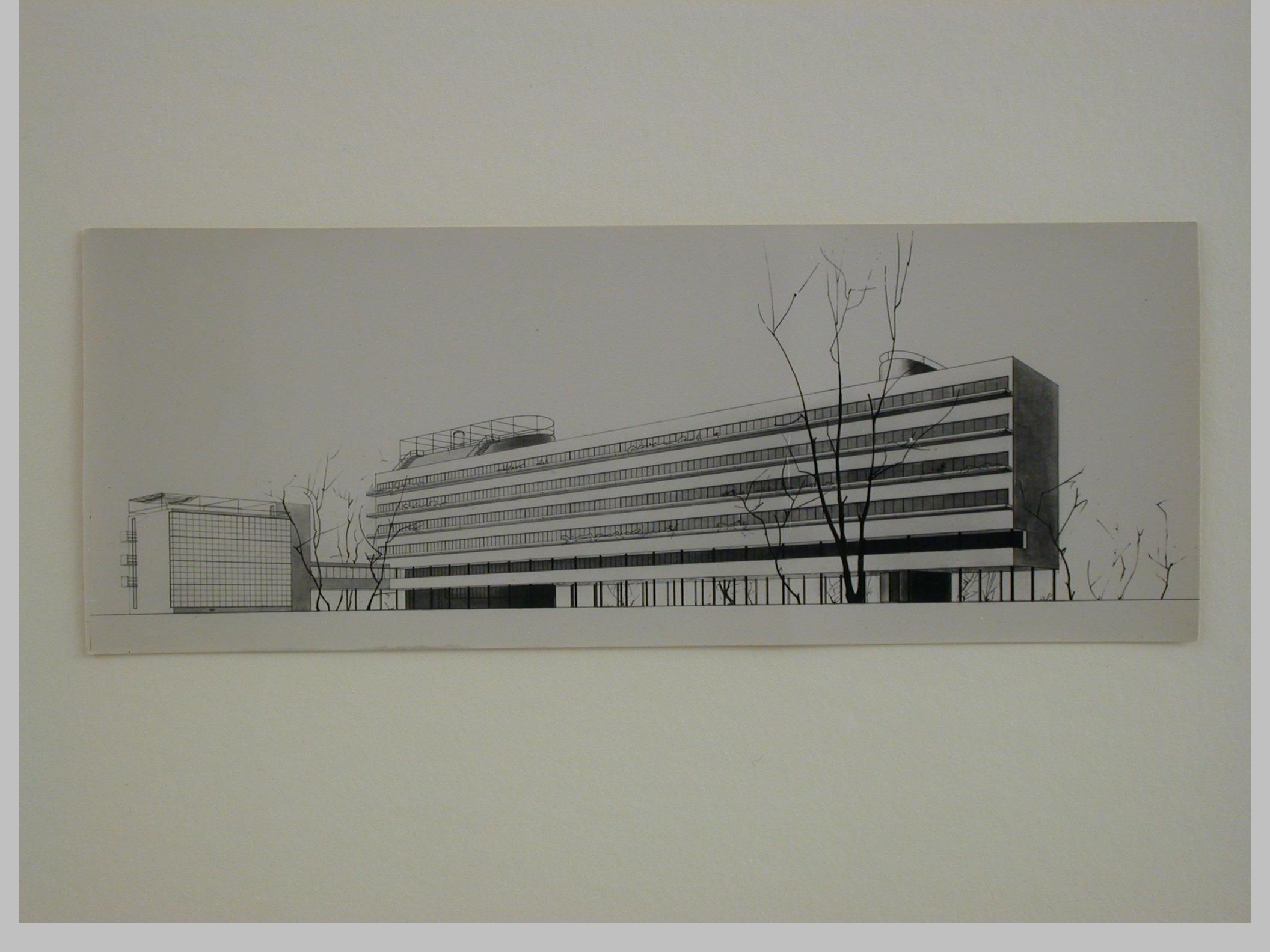 Gruntal, V.G. Photograph of a perspective drawing for the People's Commissariat for Finance (Narkomfin) Apartment Building, 25 Novinskii Boulevard, Moscow, before 1929