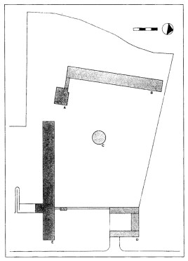 Moisei Ginzburg & GA Zundblat, proposed site plan of the second phase showing the second house of the Council of People's Commissars - (A) communal block, (B) living block, (C) crèche, (D) mechanical laundry building, (E) second house 1929