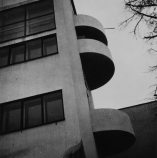 Robert Byron Narkomfin apartments Moscow, USSR Architects: Moisei Ginzburg and Ignatii Milinis (1928-1929) Type: A-negative Exterior view, side façade with balconies, detail