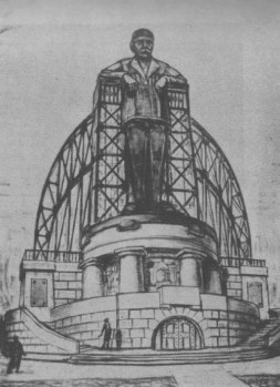 "PLAN FOR A MONUMENT TO THE COMMUNIST REVOLUTION- ""THE COLOSSUS OF IRON."""