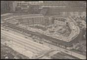Hans Poelzig Haus des Rundfunks, Berlin-Charlottenburg Perspektivische Ansicht (Vogelschau) während des Bauens 1