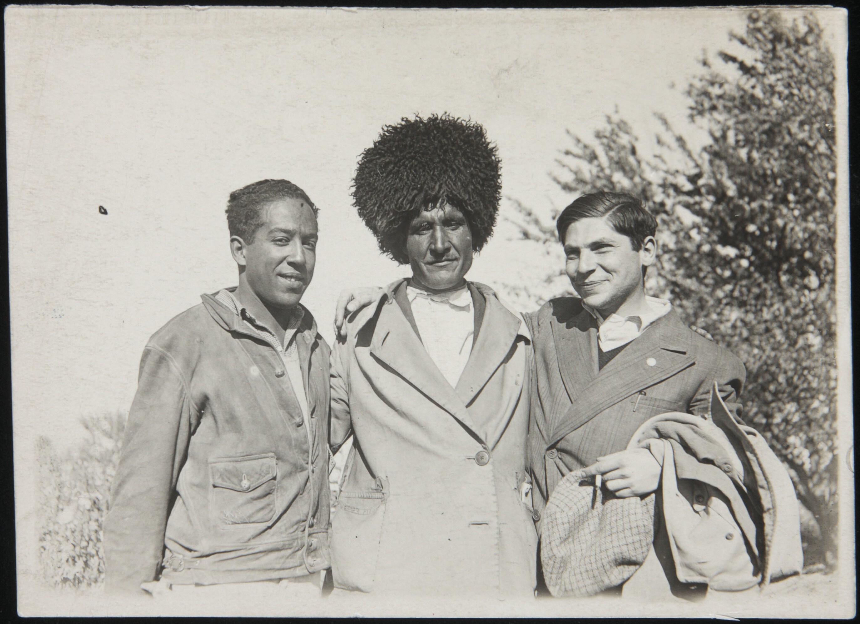 Langston Hughes and German journalist Arthur Koestler on a cotton kolhoy in Soviet Central Asia, 1932