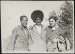 Langston Hughes and German journalist Arthur Koestler on a cotton kolhoy in Soviet Central Asia, 1932