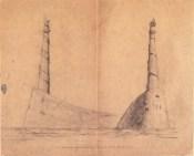 A. Mukhin. Supervisor L. Vesnin. Port Lighthouse. Sketches. 1922