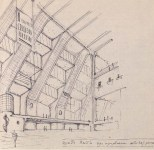 A. Vlasov. Supervisor N. Markovnikov. Palace of Labour. Sketches for the theatre and library. 1928