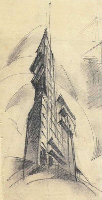 G. Barkhin. Izvestiya Newspaper Office and Printing Factory in Moscow. Sketch. 1925 a