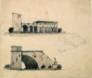 G. Gol'ts. N. Ladovsky's workshop Architectural and Spatial Design of the Entrance to the Nikitsky Boulevard in Moscow. Sketches. 1920-1921