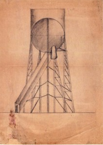 I. Lamtsov. N. Ladovsky's workshop Grain Elevator. Revelation and expression of form. Sketch. 1922
