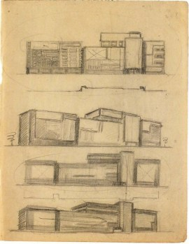 N. Kolpakova. Communal House Main Facade. Exercise on the Expressiveness of a Frontal Surface. 2nd year. Sketches. 1928:1929
