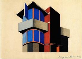 N. Kolpakova. G. Klutsis's workshop. Colour Solution for an Architectural Volume. 2nd year. 1928:1929