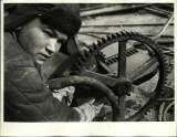 Margaret Bourke-White, Russian steel worker turning gear wheel in a steel mill (1931)