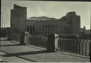 Margaret Bourke-White, View of new unident. public bldg. fr. bridge over river (1931)