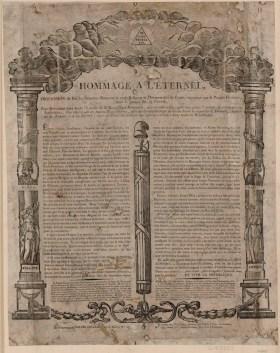 Hommage a l'éternel - Profession de Foi des Hommes libres sur la vraie Religion et l'Immortalité de l'ame, reconnue par le Peuple Français, dans la Séance du 19 Floréal... - [estampe] _ [non identifié]